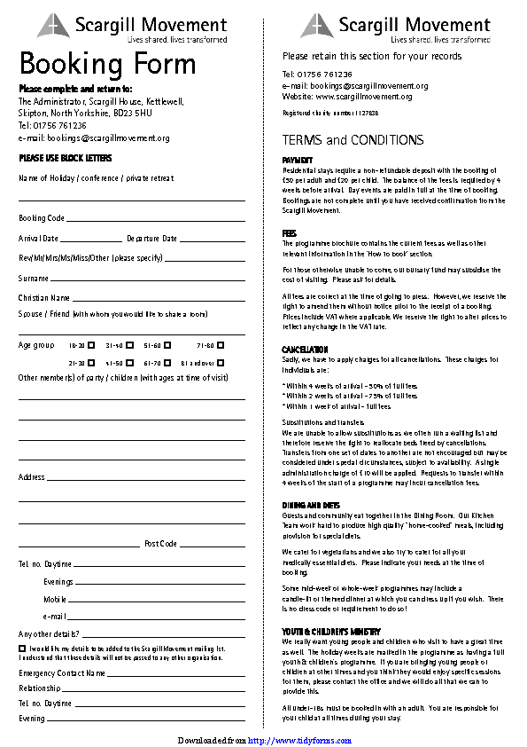 Booking Form 1