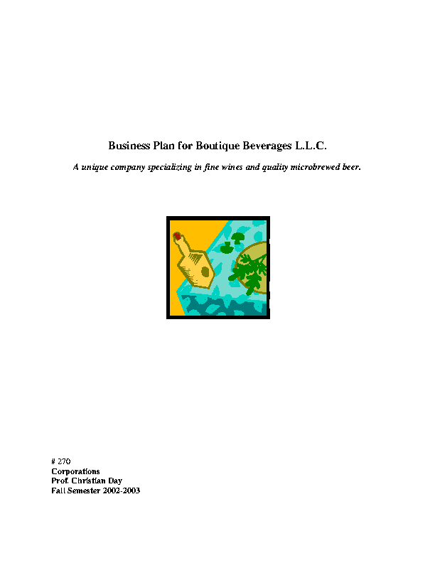 Boutique Baverages Plan Template