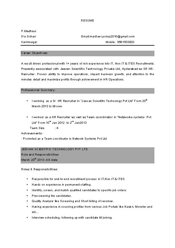 Bpo Experienced Resume Template