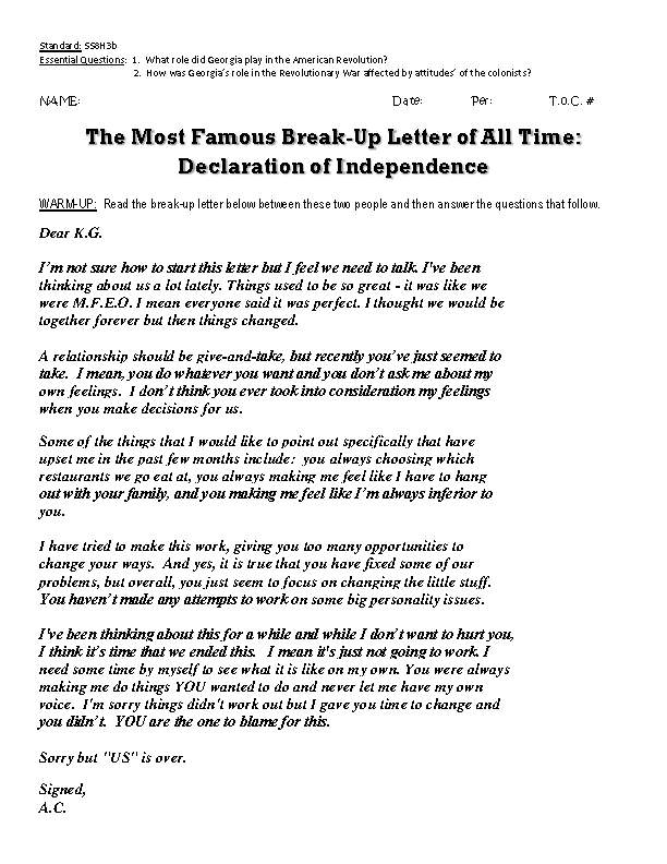 Break Up Letter Declaration