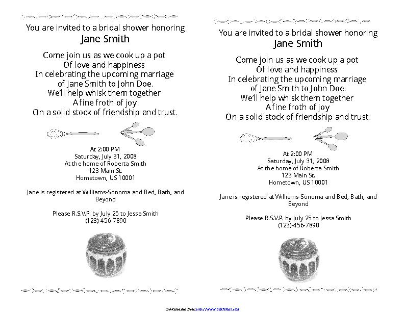 Bridal Shower Invitation Template 1