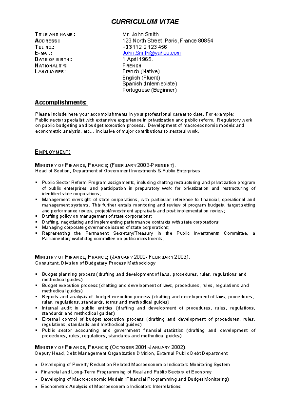 Brief Drafter Resume