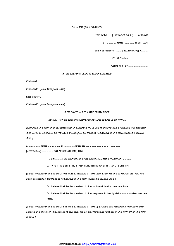 British Columbia Affidavit Desk Order Divorce Form