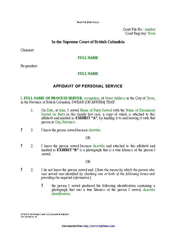 British Columbia Affidavit Of Personal Service Form