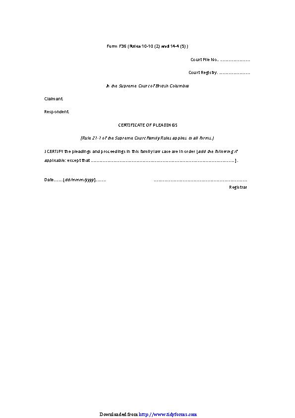 British Columbia Certificate Of Pleadings Form