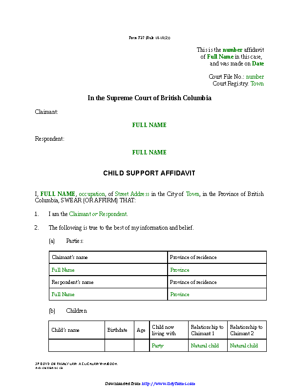 British Columbia Child Support Affidavit Sole Claim Form