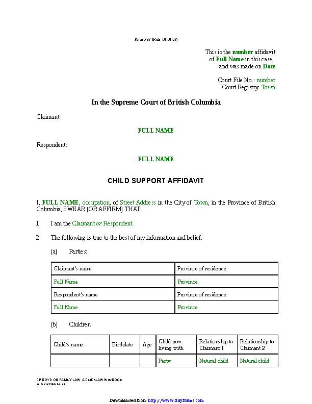 British Columbia Child Support Affidavit Sole Claim Form