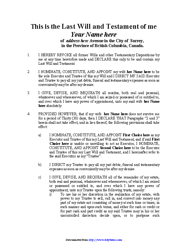 British Columbia Last Will And Testament Form