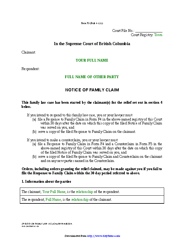British Columbia Notice Of Family Claim Form