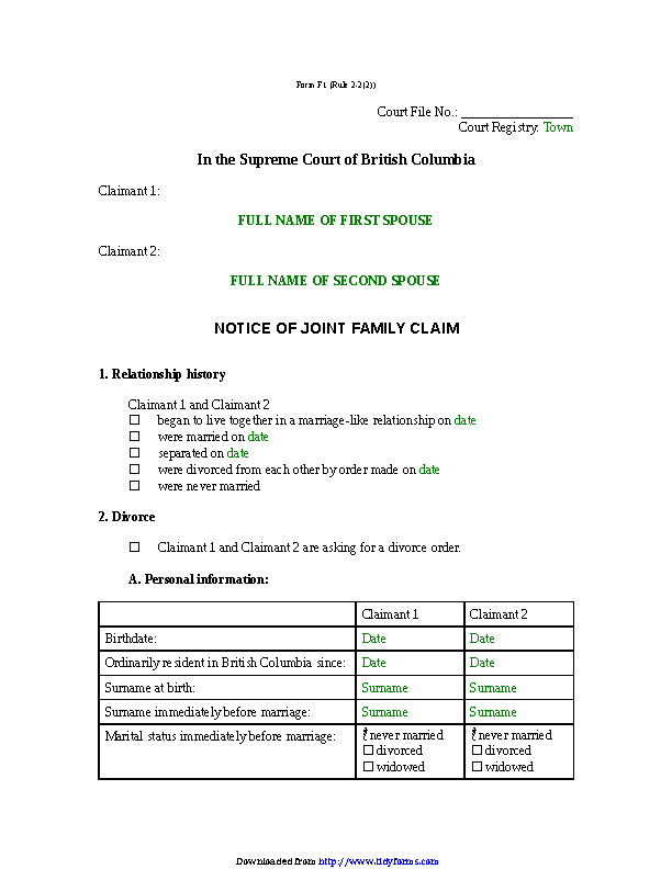 British Columbia Notice Of Joint Family Claim Form