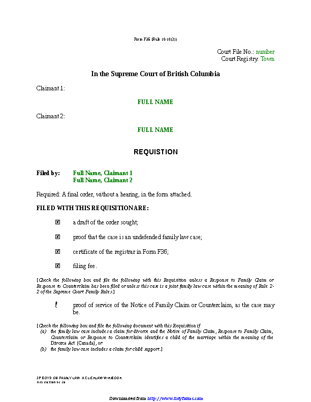 British Columbia Requisition Joint Claim For Divorce Form