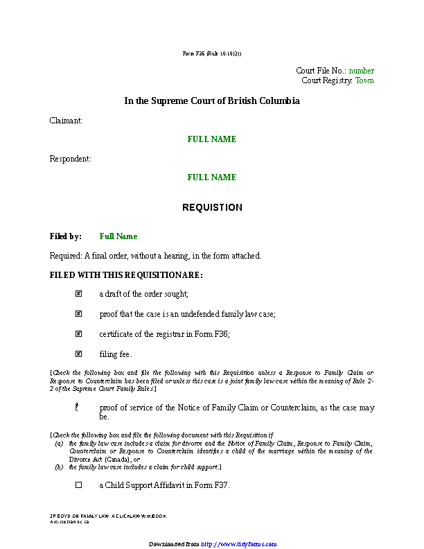 British Columbia Requisition Sole Claim For Divorce Form
