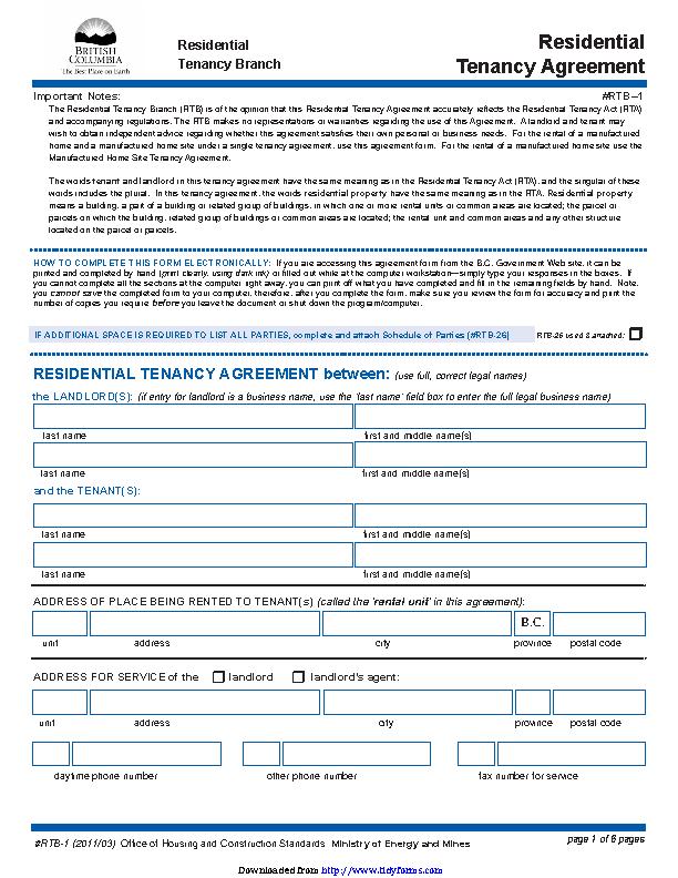 British Columbia Residential Tenancy Agreement Form Pdfsimpli