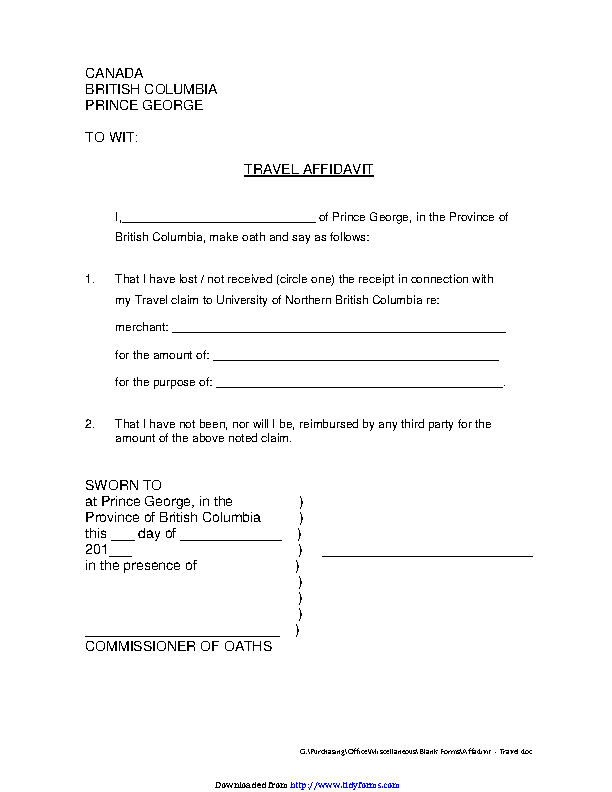 British Columbia Travel Affidavit Form