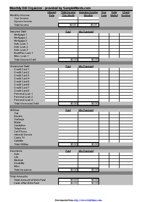 Business Bill Organizer Chart