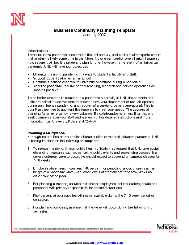 Business Continuity Plan Template 3