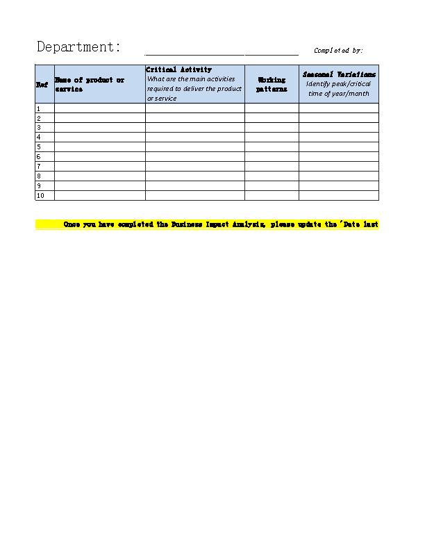 Business Impact Analysis Template Excel