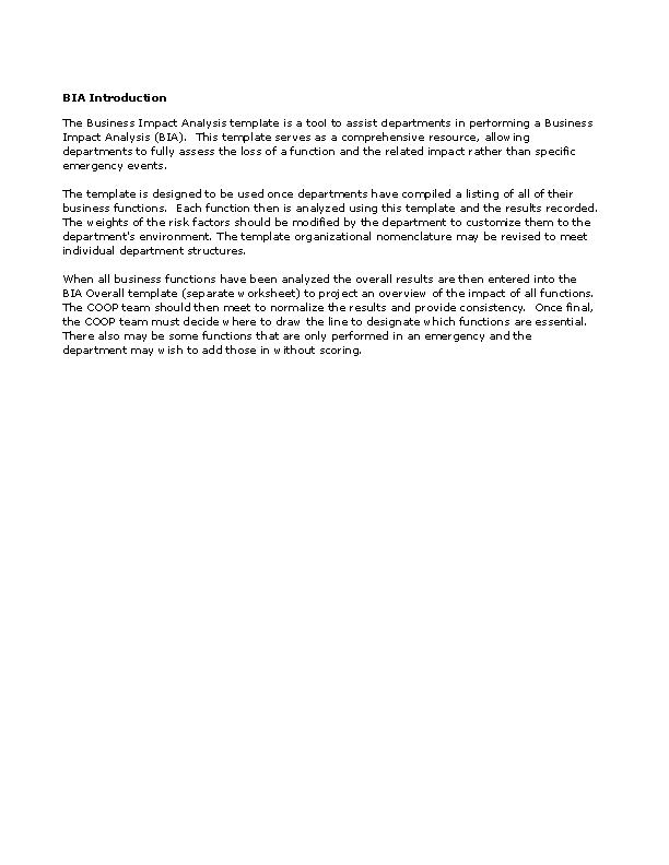 Business Impact Analysis Workbook Template