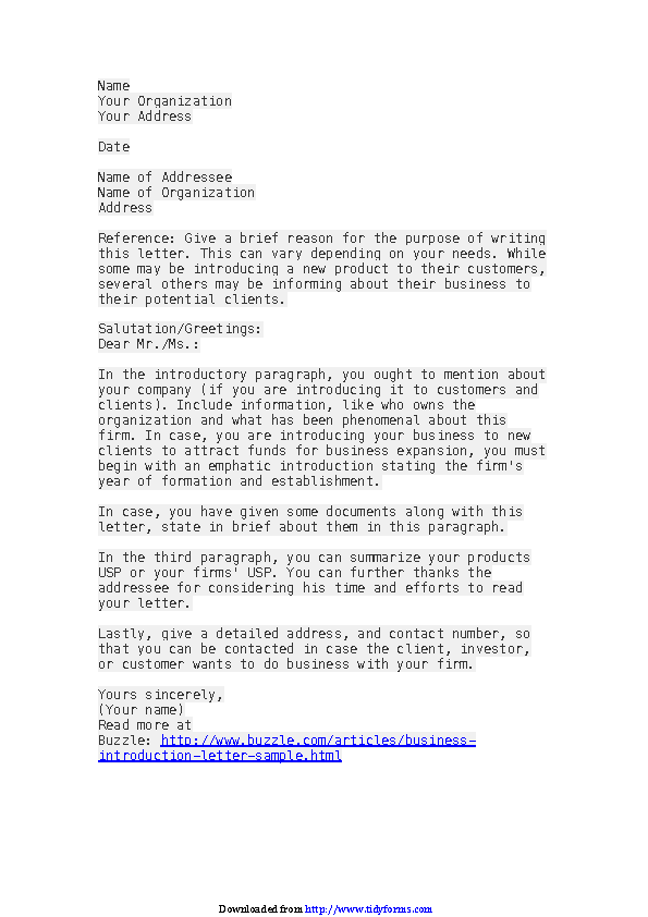 Business Introduction Letter Sample