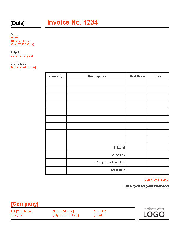 Business Invoice Red And Black Design