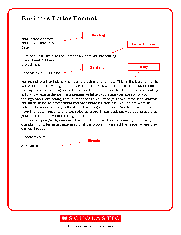 Business Letter Writing Template Example