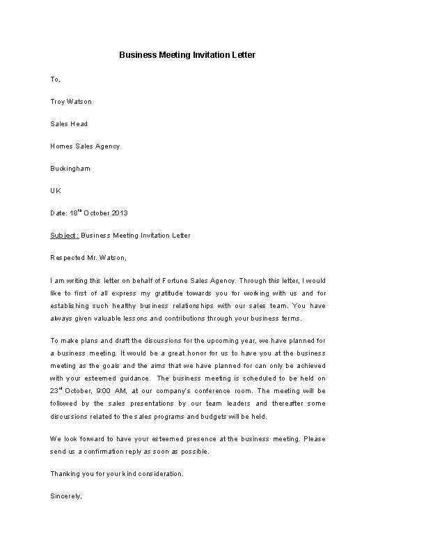 Business Meeting Invitation Letter Template