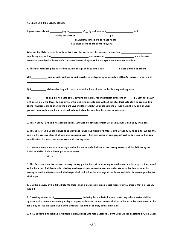Business Microsoft Bill Of Sale Template