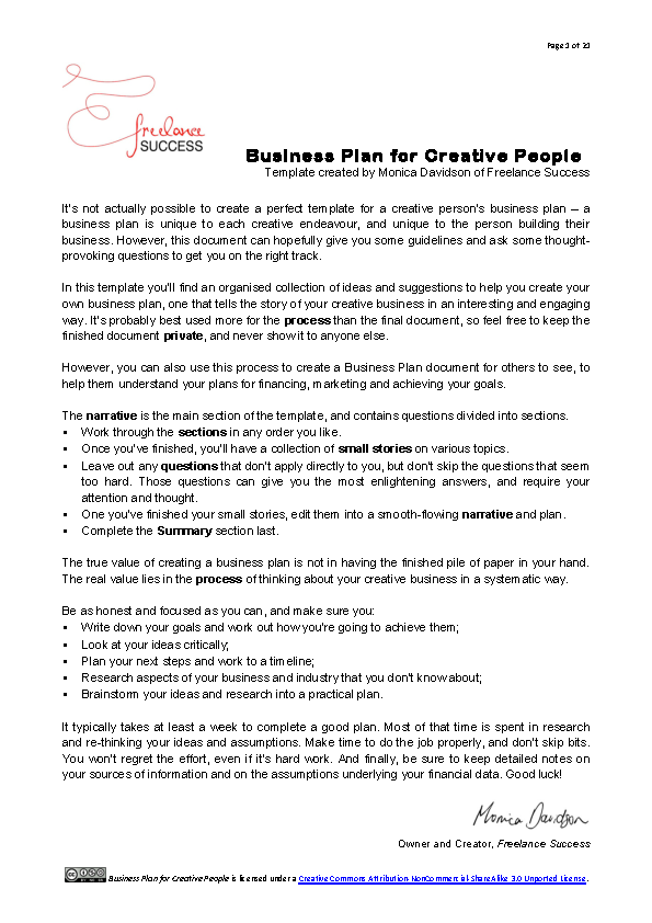 Business Plan For Creative People