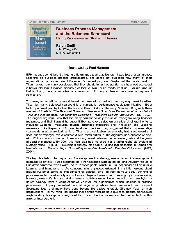 Business Process Management And The Balanced Scorecard 1
