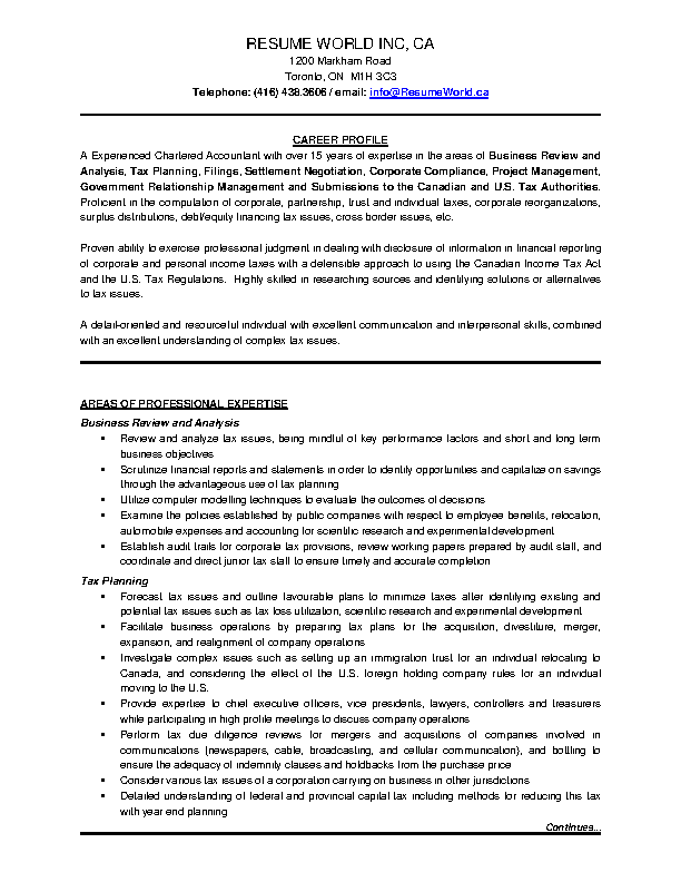 Business Tax Planning Charted Accountant Resume