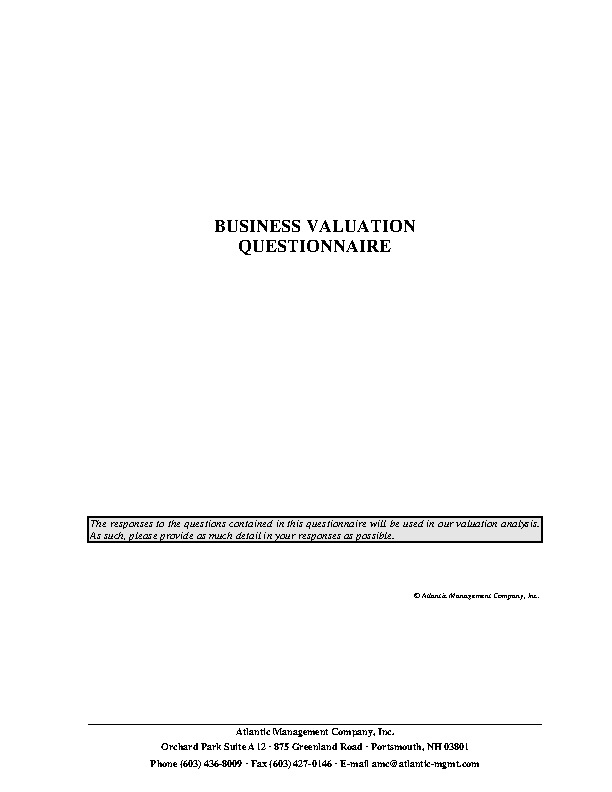Business Valuation Questionnaire