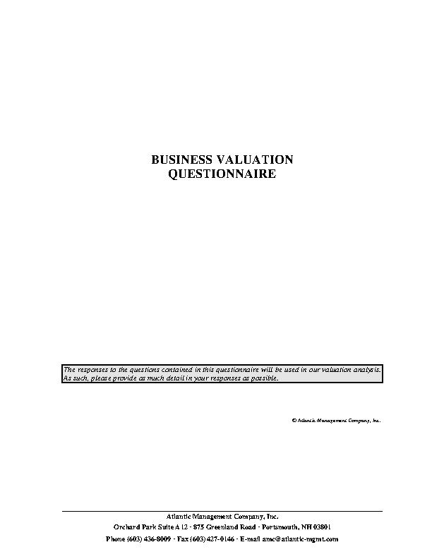 Business Valuation Questionnaire