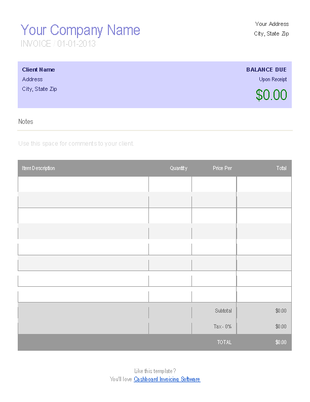 Cake Decorating Invoice Template