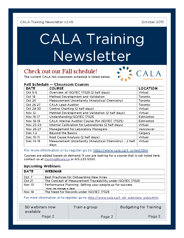 Cala Training Newsletter
