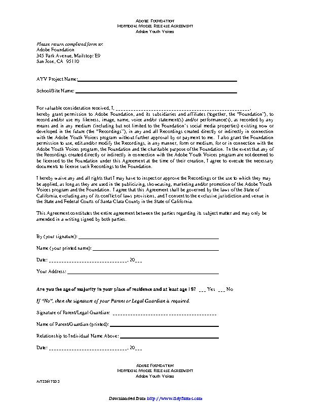 California Adobe Foundation Individual Model Release Form - PDFSimpli
