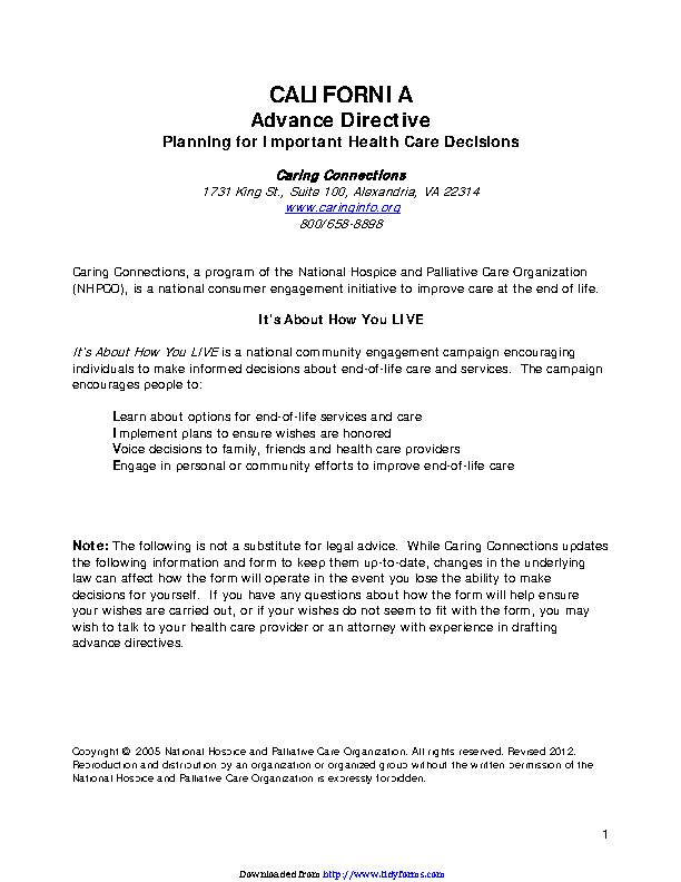 California Advance Health Care Directive Form 3