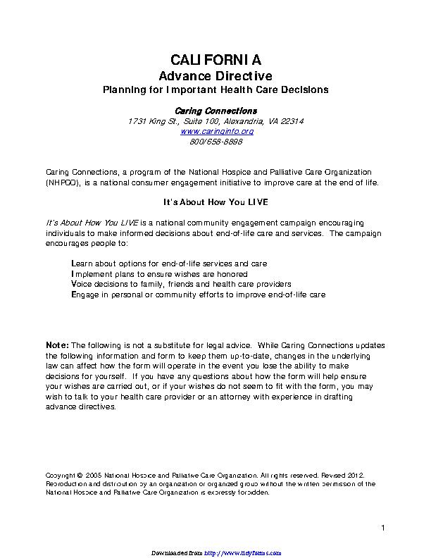 California Advance Health Care Directive Form 3