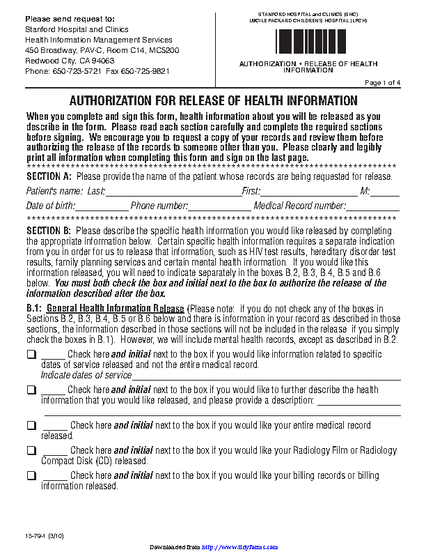 California Authorization For Release Of Health Information