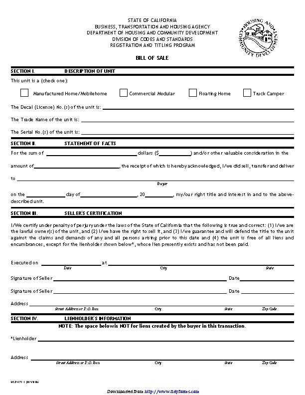 California Bill Of Sale Form
