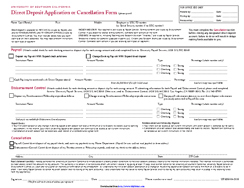 California Direct Deposit Form 1