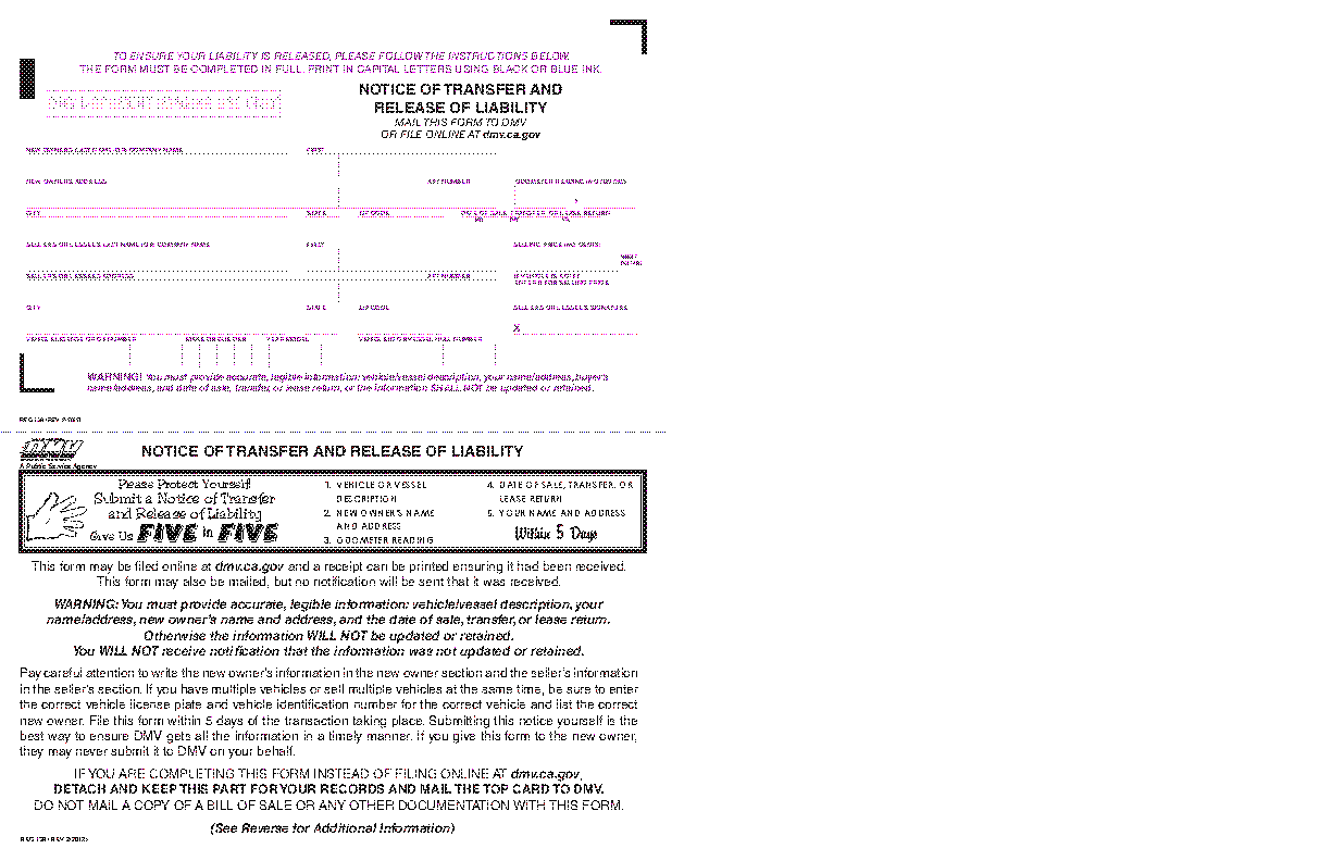 Release Of Liability Ca >> California Dmv Release Of Liability Form Reg138 Pdfsimpli