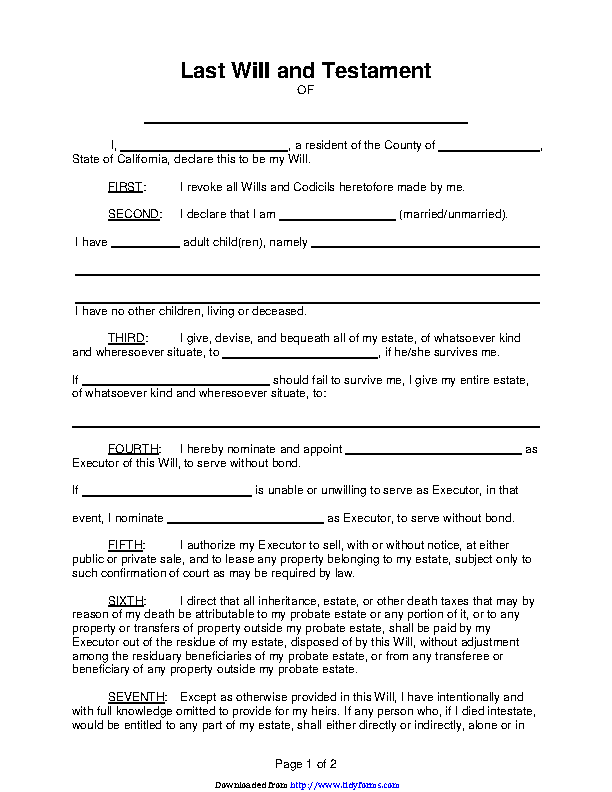 California Last Will And Testament Form 2