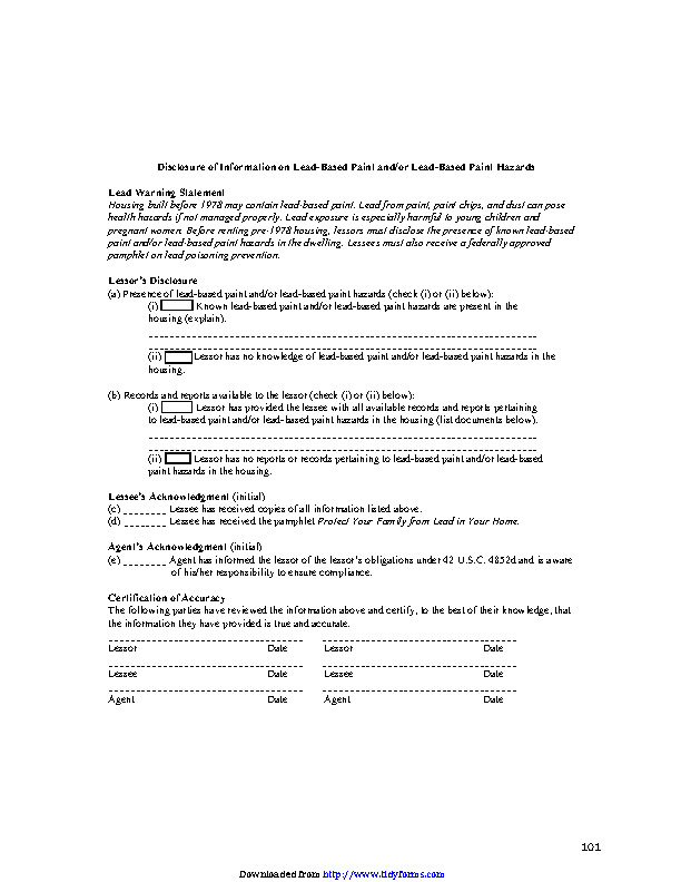 California Lead Based Paint Disclosure Form
