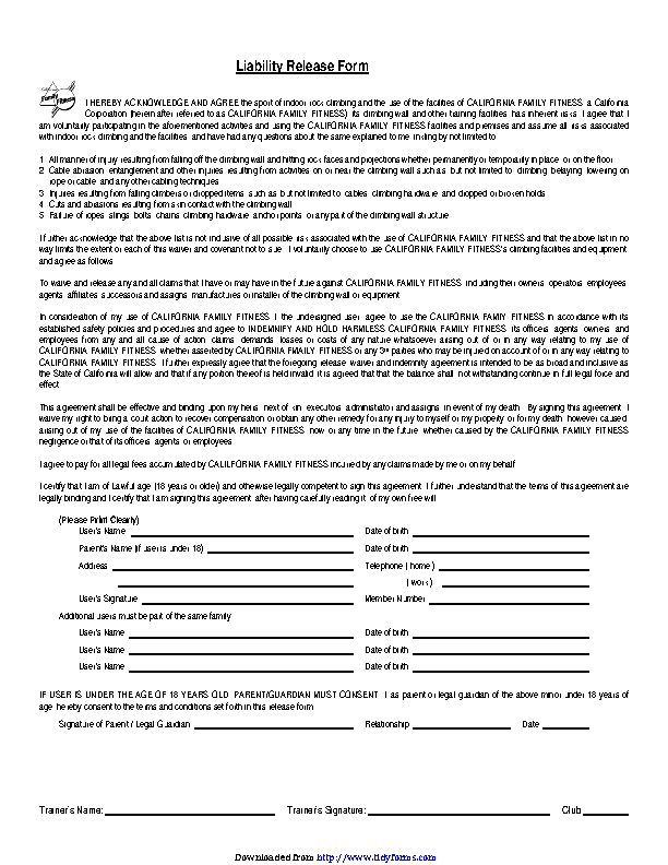 California Liability Release Form 1