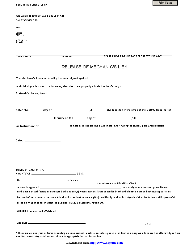California Mechanic Lien Release Form