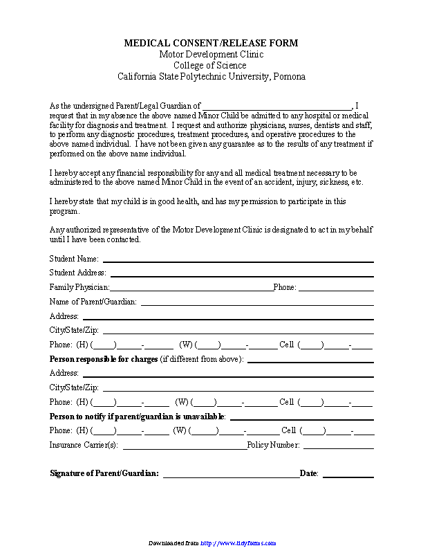 California Medical Consent And Release Form For Minor Child