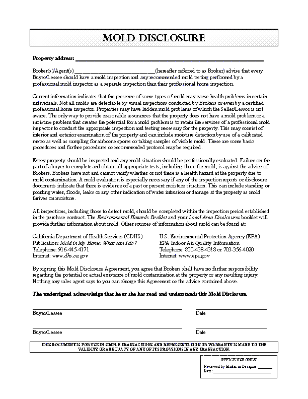 California Mold Disclosure Form