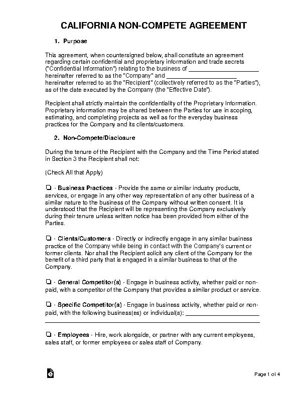 California Non Compete Agreement Template 1