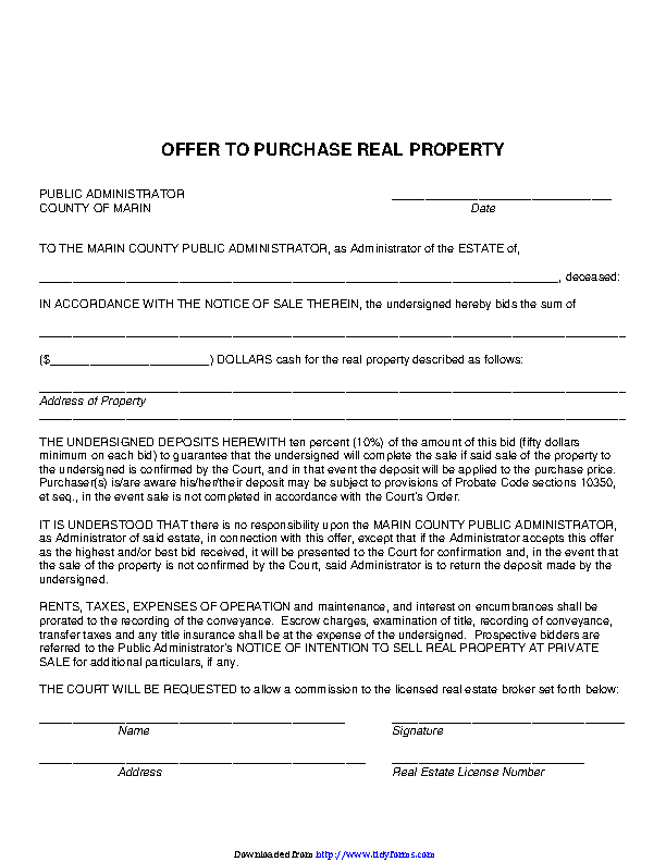 California Offer To Purchase Real Estate Form