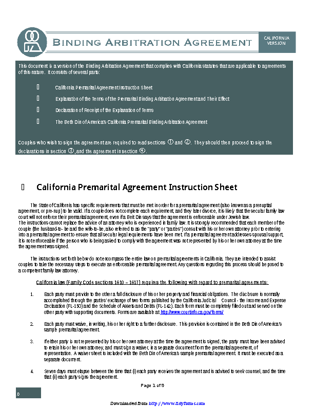 California Prenuptial Agreement Sample